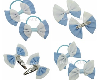 Baby blue and white fabric hair accessories, School hair bows, Thick bobbles, thin bobbles, alligator clip, snap clips