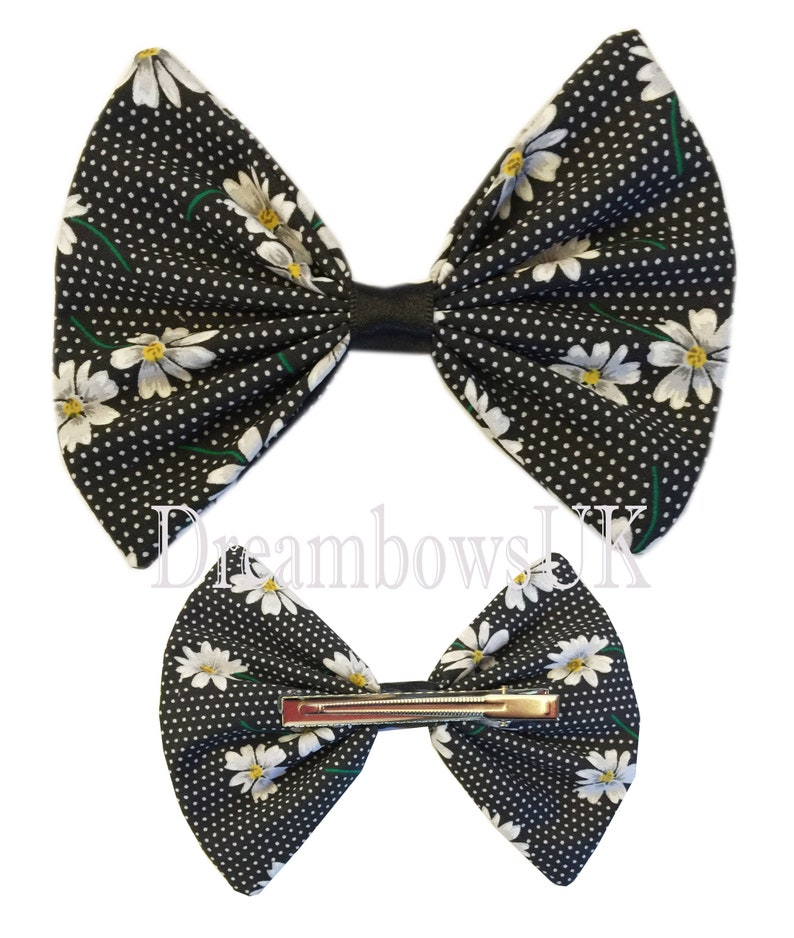 Large daisy floral fabric hair bow alligator clip black and image 0