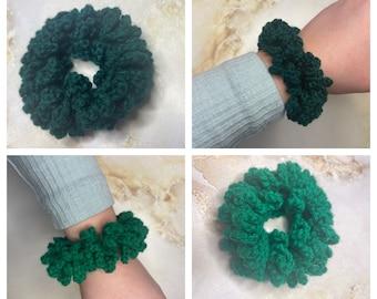 Bottle green and jade green crochet hair scrunchie, Handmade, School hair accessories