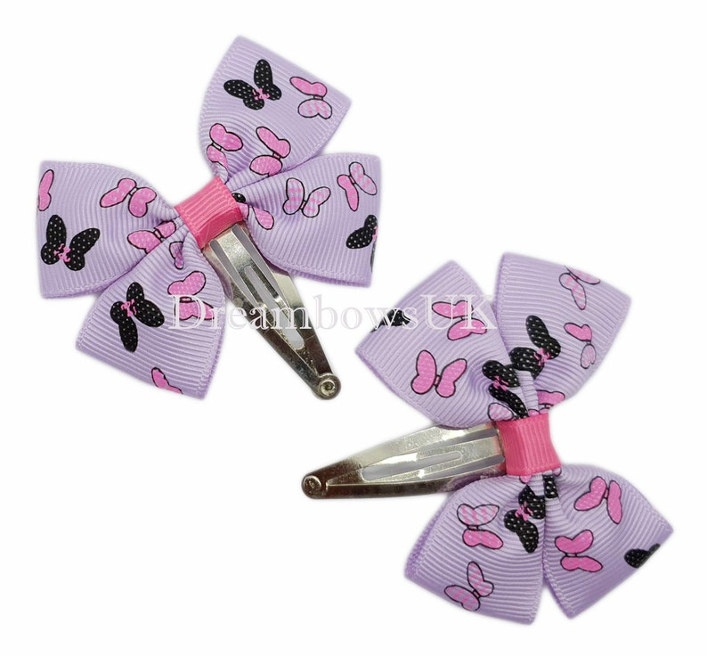 Lilac butterfly design ribbon hair bows on snap clips image 0