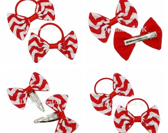 Red and white chevron fabric hair bows/Accessories, bobbles or hair clips