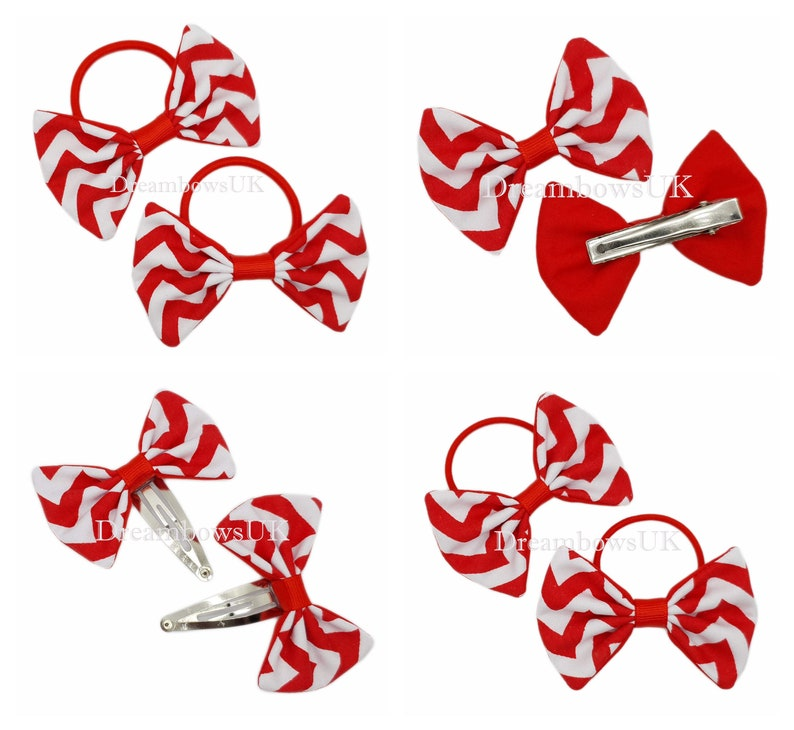 Red and white chevron fabric hair bows/Accessories bobbles or image 0
