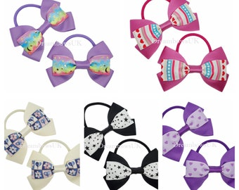 One off design grosgrain ribbon hair bows on thick bobbles, Handmade hair accessories, Choice of designs