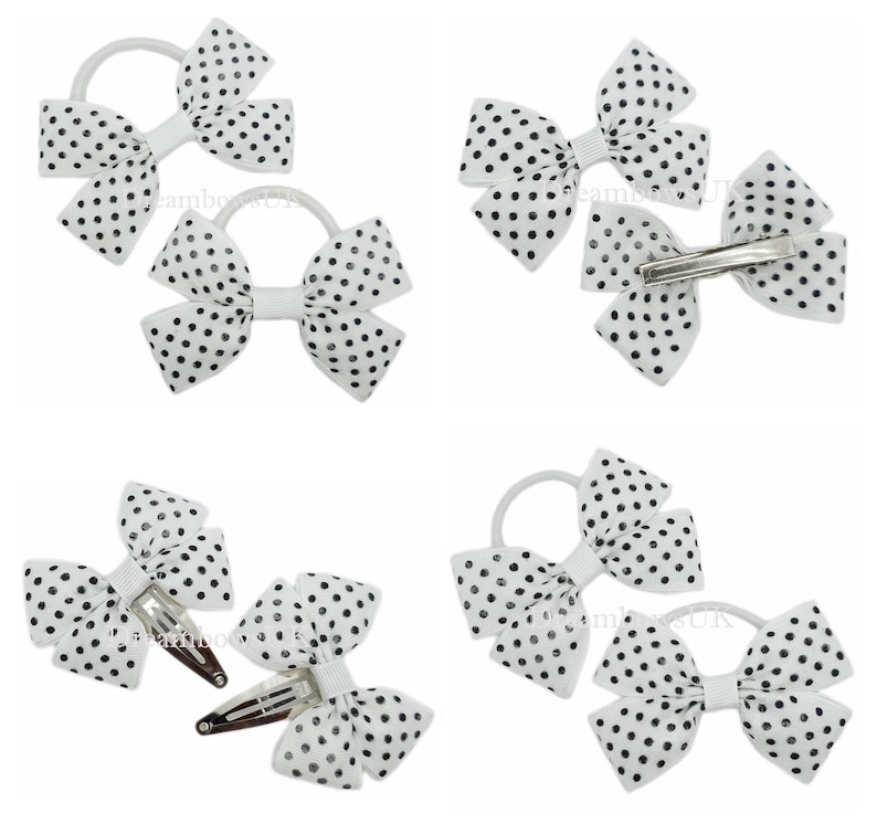 White polka dot hair accessories Bobbles or hair clips Spotty image 0