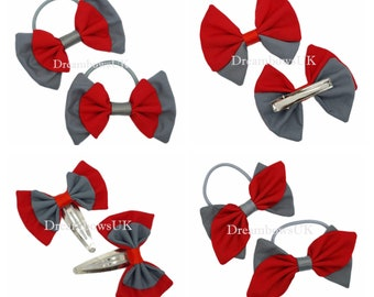 Grey and red fabric school hair bows, Bobbles and hair clips