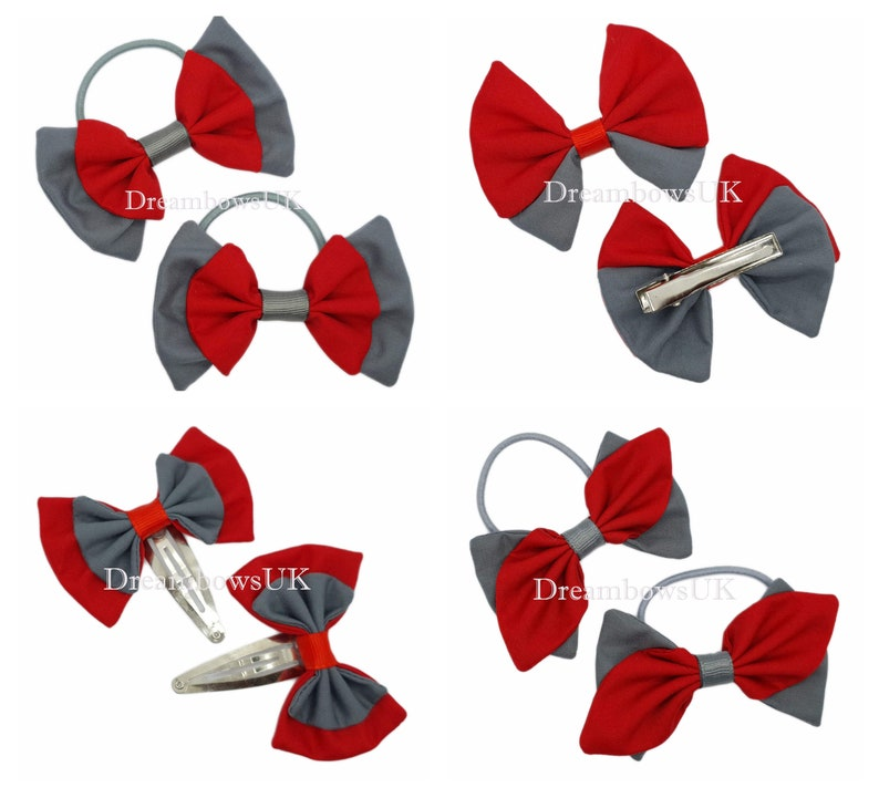 Grey and red fabric school hair bows Bobbles and hair clips image 0