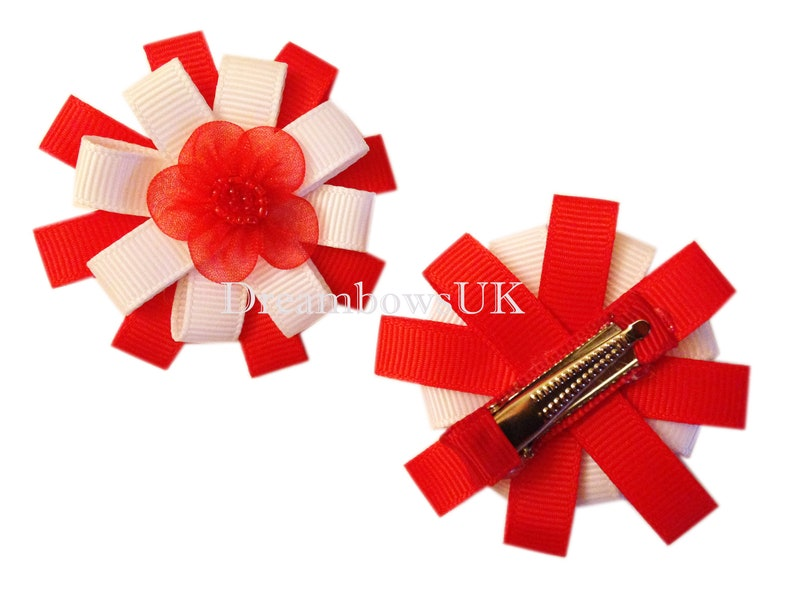 Pretty red and white ribbon hair flowers on alligator clips image 0