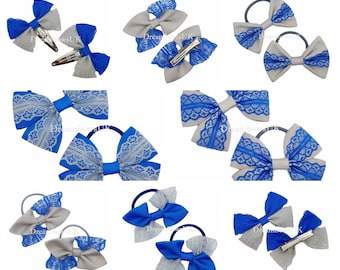 Royal blue and grey lace and grosgrain hair bows, hair accessories, school bobbles, hair clips/slides