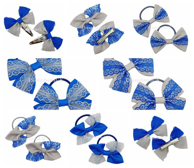 Royal blue and grey lace and grosgrain hair bows hair image 0