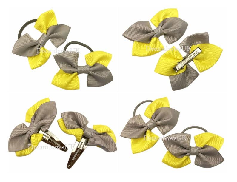 Grey and yellow grosgrain ribbon hair accessories hair bows image 0