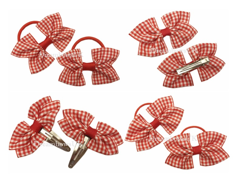 Red and white gingham ribbon hair bows bobbles or hair clips image 0