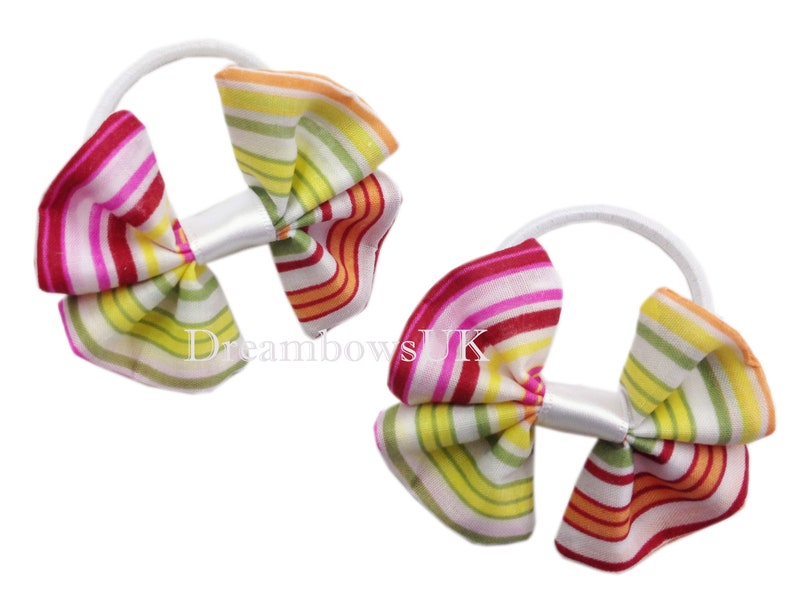 Multi colour striped cotton hair bows on thick hair bobbles image 0