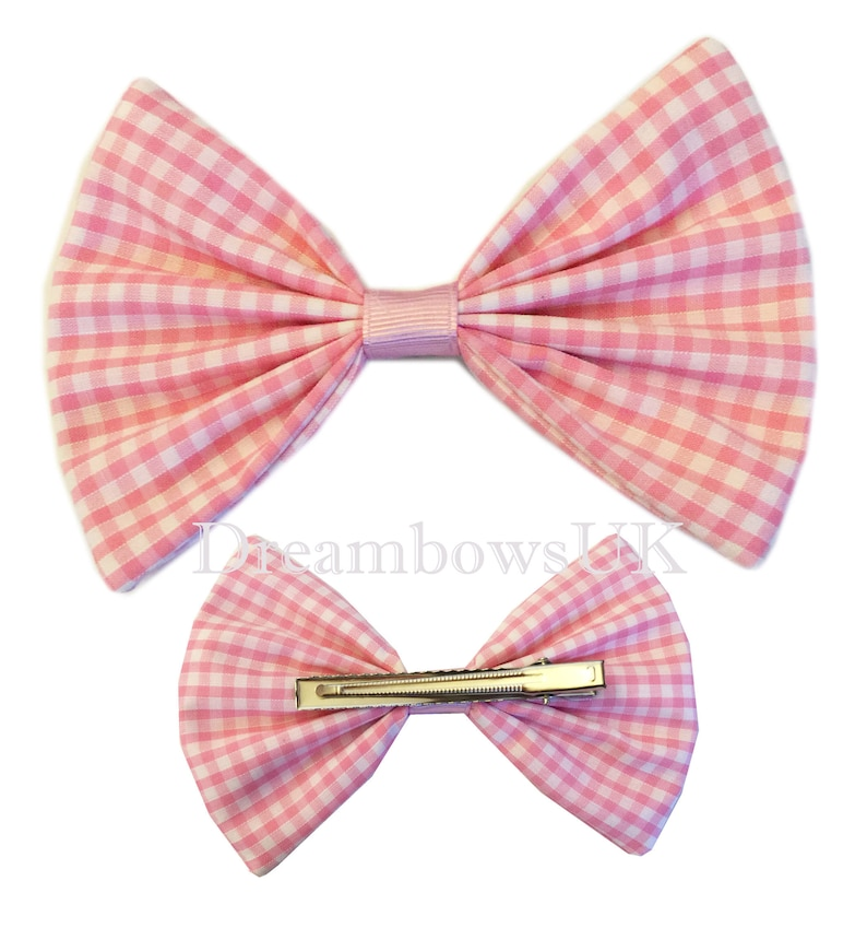 Large baby pink and white gingham hair bow on alligator clip image 0
