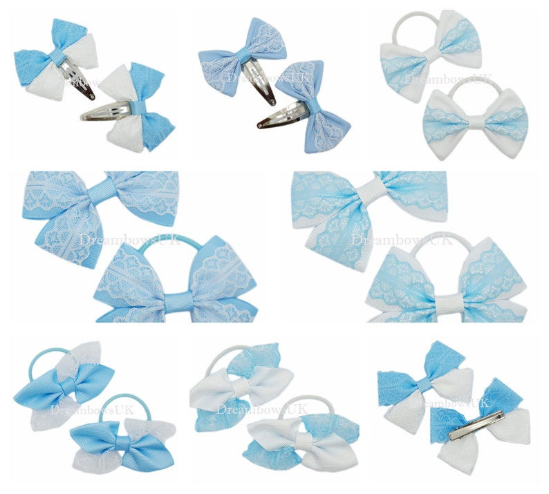 Baby blue and white lace hair bows/accessories bobbles or image 0