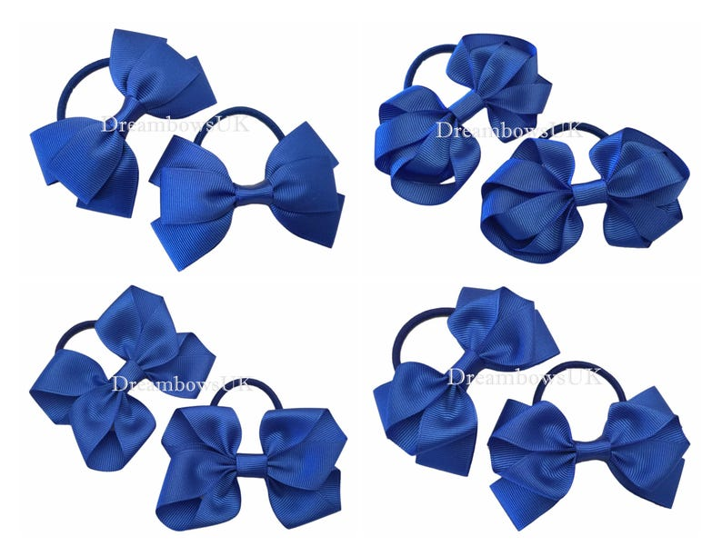 "Girls set 2 navy blue glitter 3/"" Hair Bow bobbles school"
