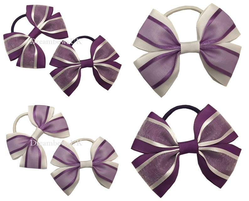 Purple and white organza hair bows on thick bobbles Girls image 0