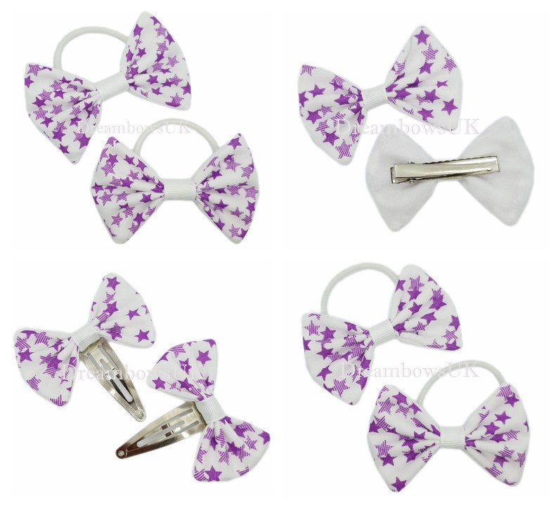 Purple and white star design fabric hair bows/accessories image 0