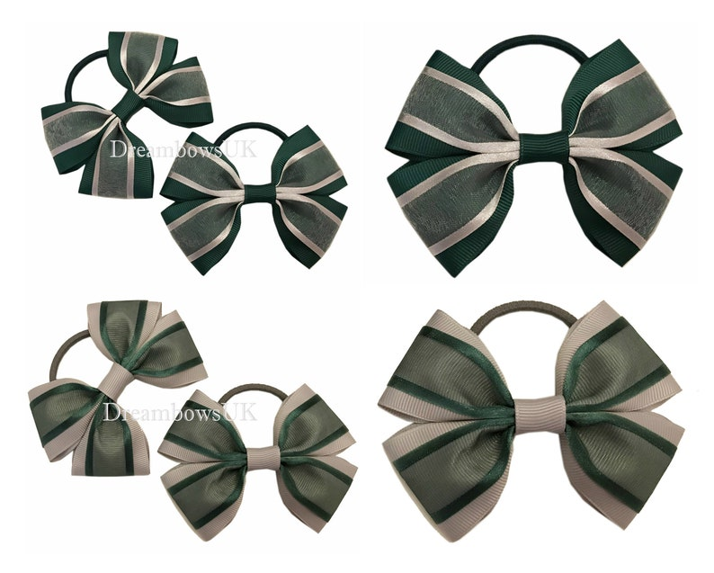 Bottle green and grey organza hair bows on thick bobbles image 0