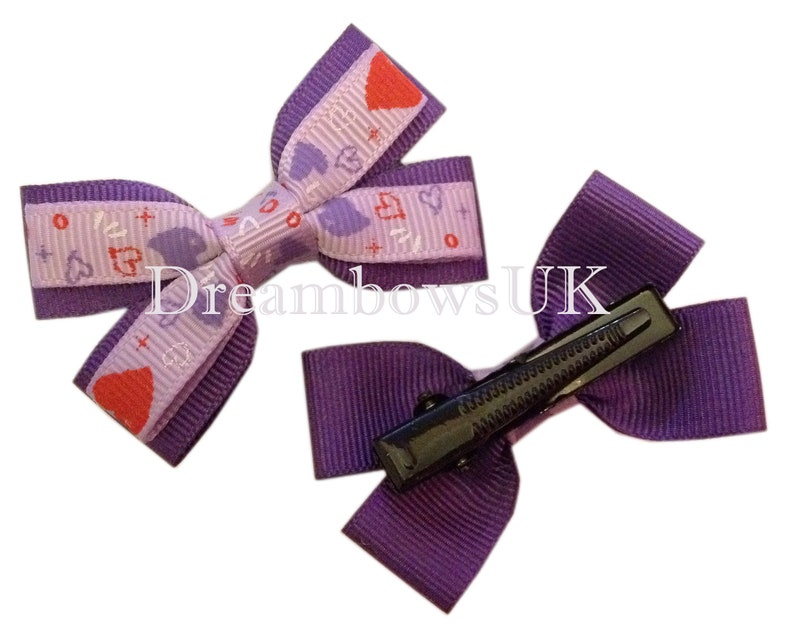 Purple and lilac heart design grosgrain ribbon hair bows image 0