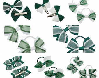 Bottle green and white grosgrain ribbon and organza hair accessories, Green school bows, bobbles or hair clips