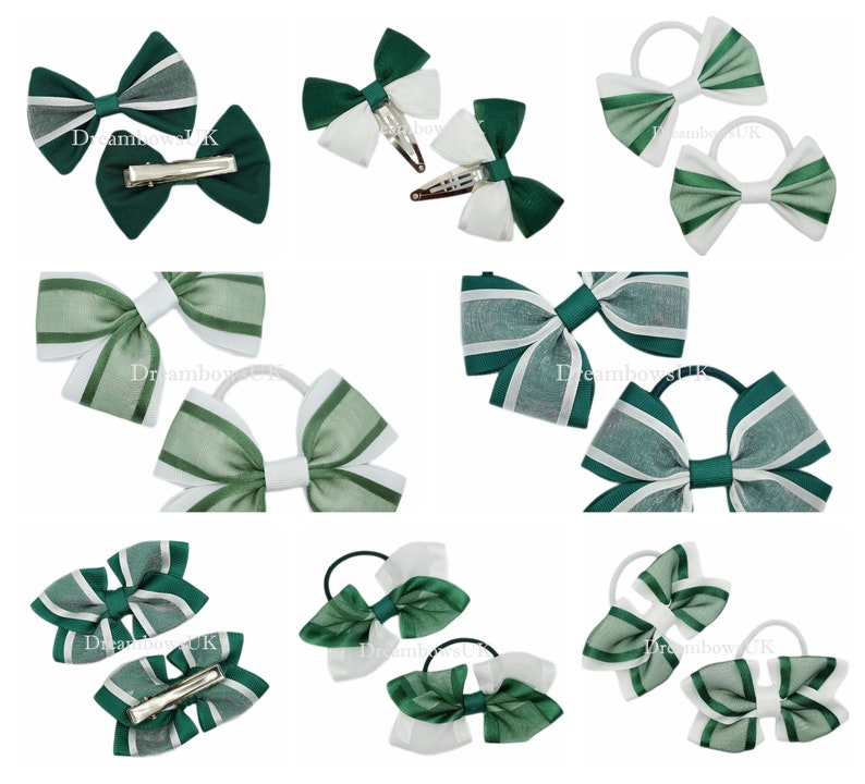 Bottle green and white grosgrain ribbon and organza hair image 0