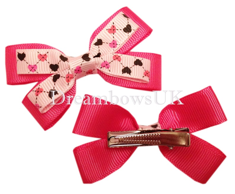 Pink heart design hair bows on alligator clips small hair image 0