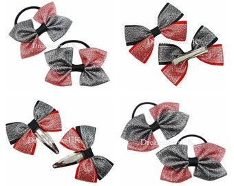 Black and red glitter bows, hair accessories, Thick bobbles, thin bobbles, alligator or snap clips