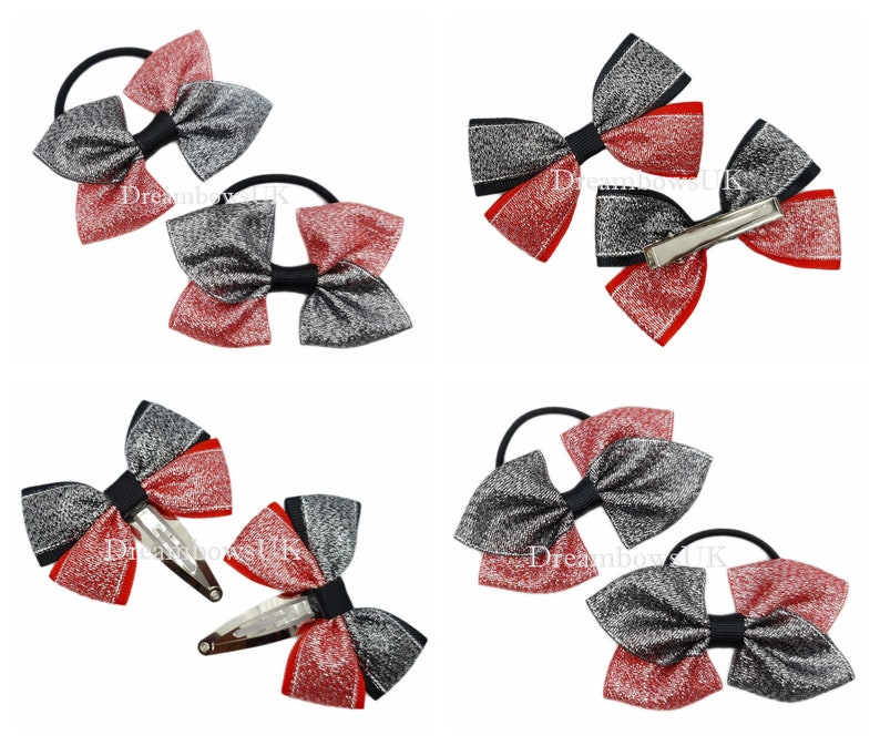 Black and red glitter bows hair accessories Thick bobbles image 0