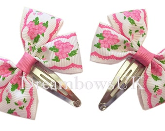 Pretty pink and white floral hair bows on snap clips, baby hair accessories, hair clips, hair slide, floral hair bows, cute hair accessories