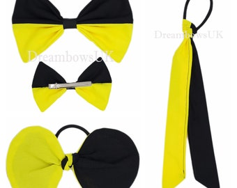 Black and yellow fabric hair accessories, Large bow, Tied bow and hair streamers