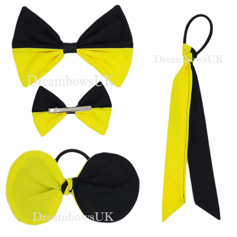 Black and yellow fabric hair accessories Large bow Tied bow image 0