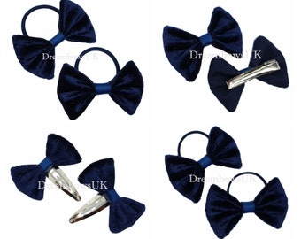 Navy blue crushed velvet hair bows, hair accessories, hair elastics, ties, clips/slides