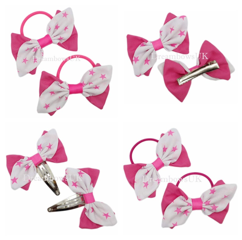Pink and white star design fabric hair bows Hair clips or image 0