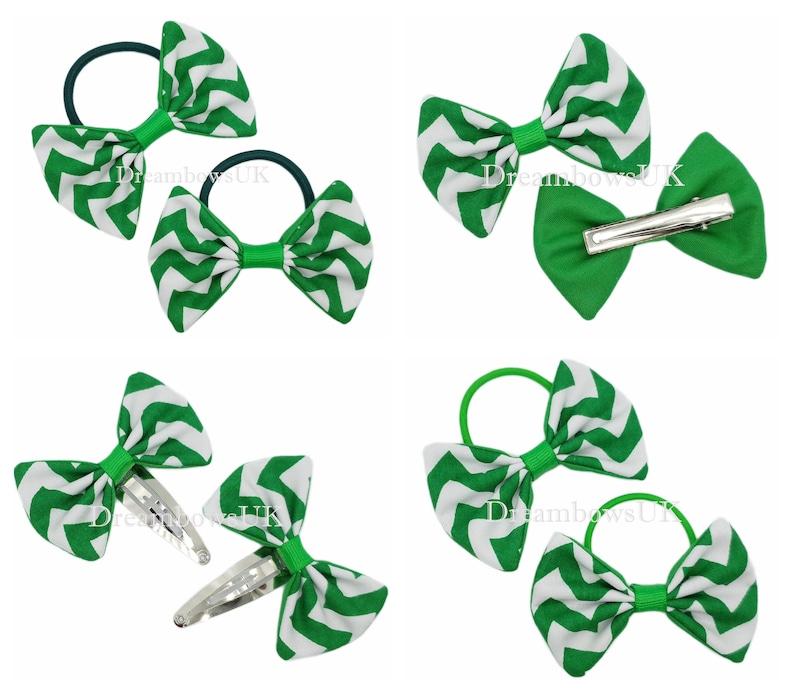 Emerald green chevron fabric hair bows hair accessories image 0