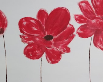 Canvas red flowers