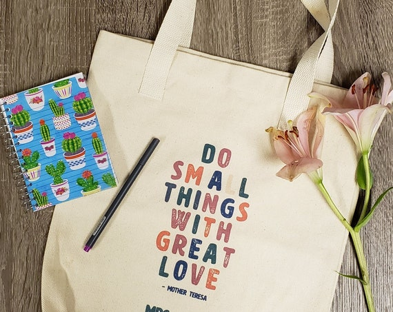 Do Small Things With Great Love Cotton Tote Bag Customizable