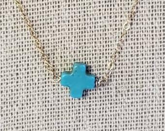 Handmade delicate 14kt gold filled 16 inch chain with turquoise 8mm howlite cross