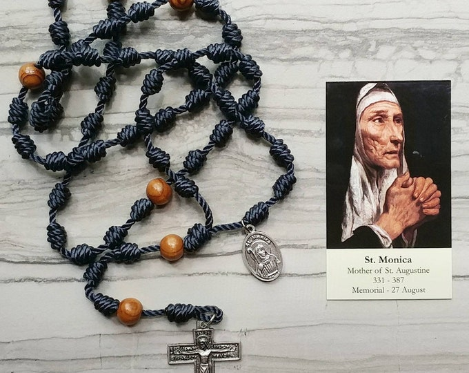 Saint Monica Twine Knotted Rosary with medal and prayer card