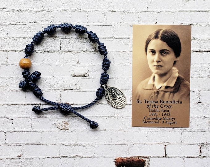 St. Teresa Benedicta Edith Stein Twine Knotted Rosary Bracelet - with medal & prayer card