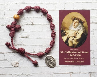 St. Catherine of Siena Twine Knotted Rosary Bracelet - with medal & prayer card