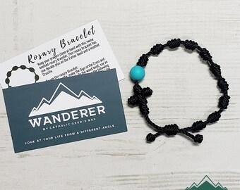 Wanderer Handmade Waterproof Twine Knotted Rosary Bracelet
