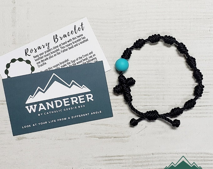Featured listing image: Wanderer Handmade Waterproof Twine Knotted Rosary Bracelet