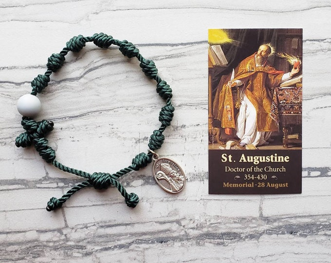 Saint Augustine Twine Knotted Rosary Bracelet - with medal & prayer card