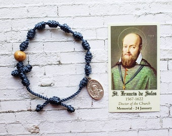 Saint Francis de Sales Twine Knotted Rosary Bracelet - with medal & prayer card