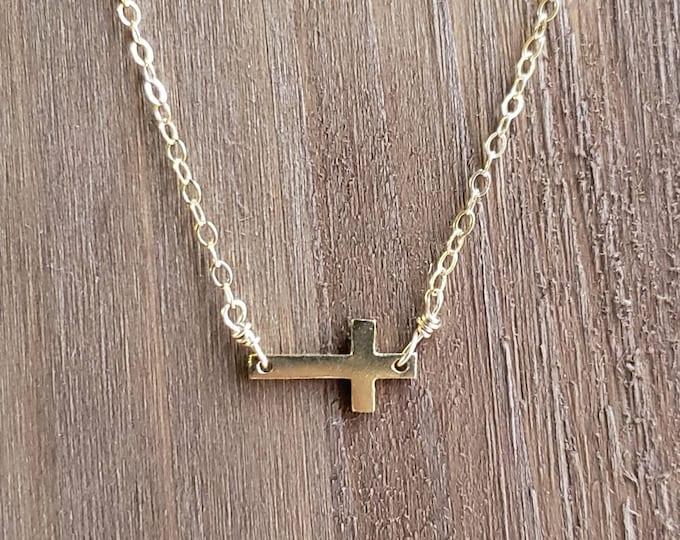 Handmade Delicate 18kt gold cross over sterling silver on a 14kt gold filled 16 inch chain