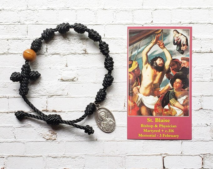 St. Blaise Twine Knotted Rosary Bracelet - with medal & prayer card