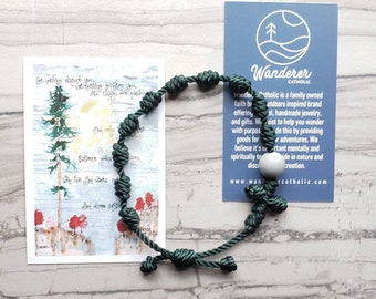 Wanderer Handmade Waterproof Twine Knotted Rosary Bracelet with bead