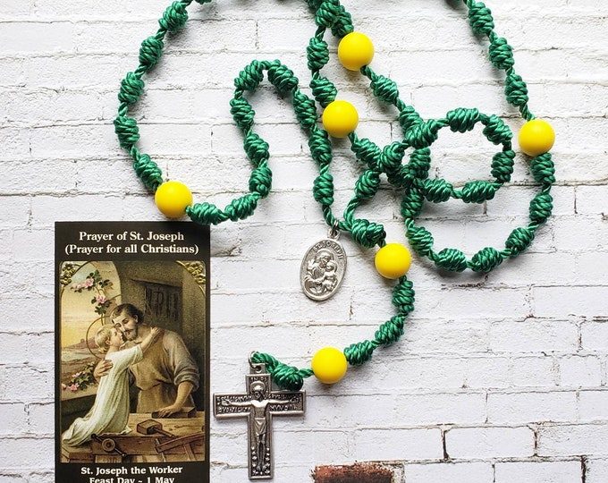 Saint Joseph the Worker- Twine Knotted Rosary with renaissance crucifix, medal, and prayer card