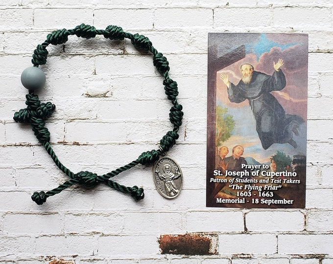 Saint Joseph of Cupertino Rosary Bracelet - with medal and prayer card