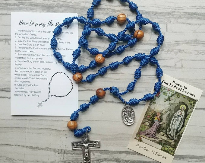 Our Lady of Lourdes Twine Knotted Rosary with medal and prayer card